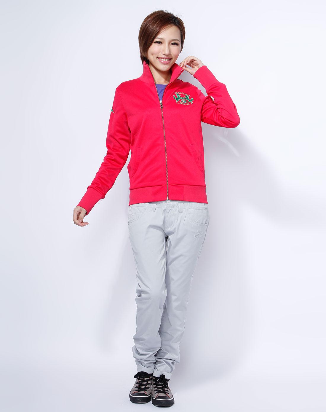 卡帕kappa女装-玫红色时尚个性休闲外套
