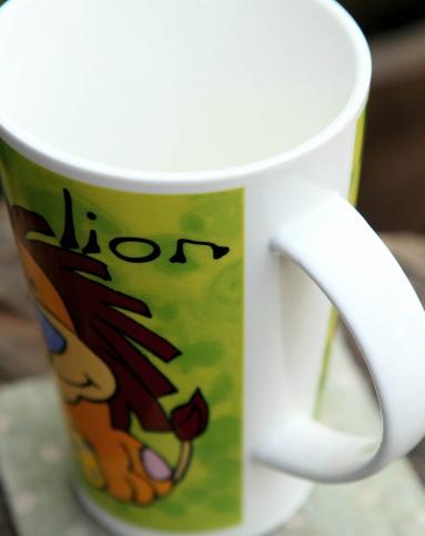 圆形动物图案陶瓷杯狮子