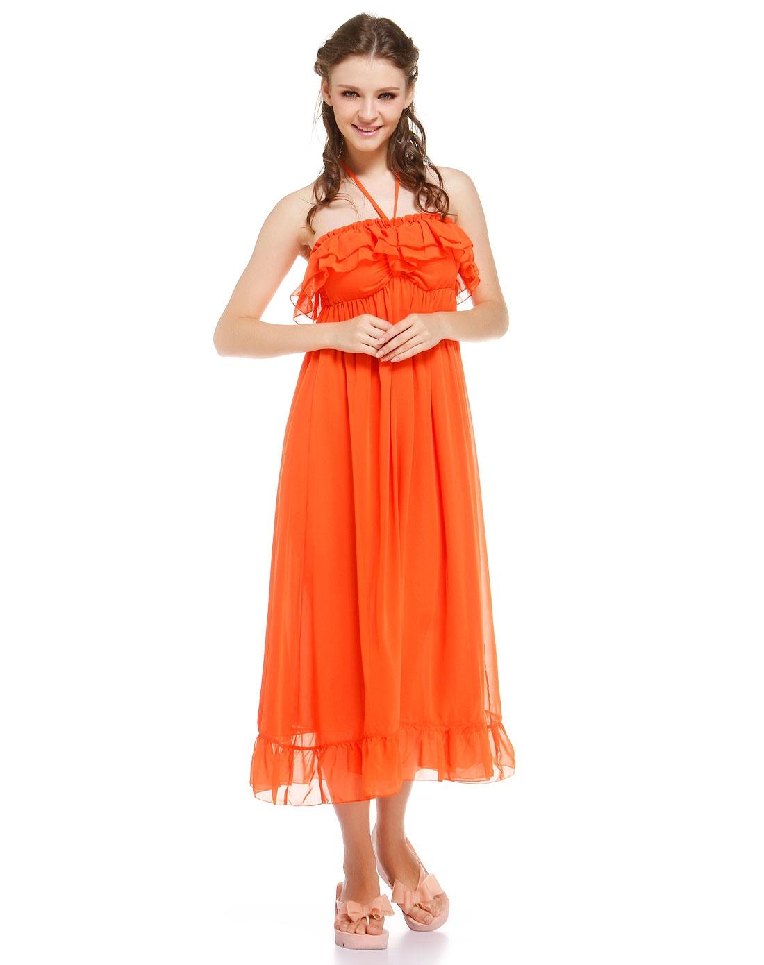 爱美丽imi's 橙色抹胸气质沙滩连衣裙