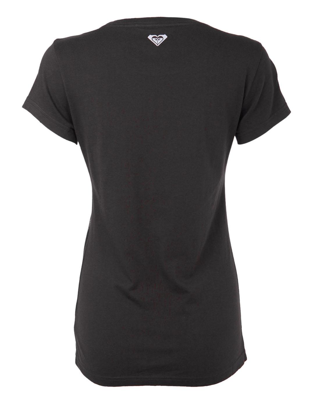 圆领印花舒适女款深灰色短袖t恤