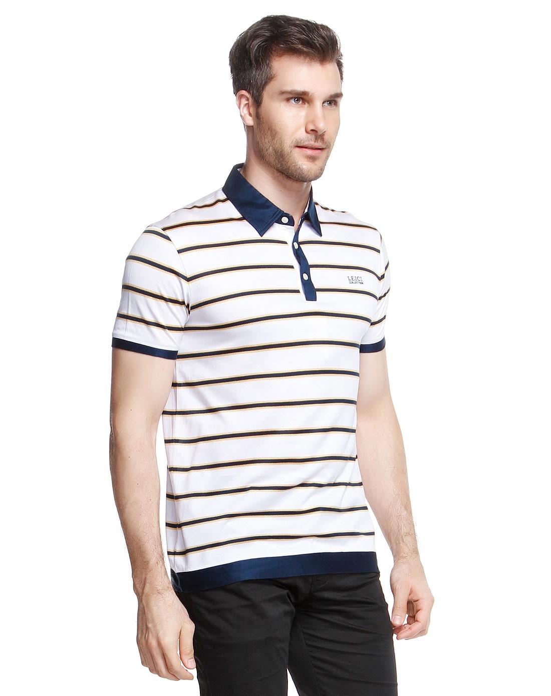 白/黄色半开襟条纹简约短袖t恤图片
