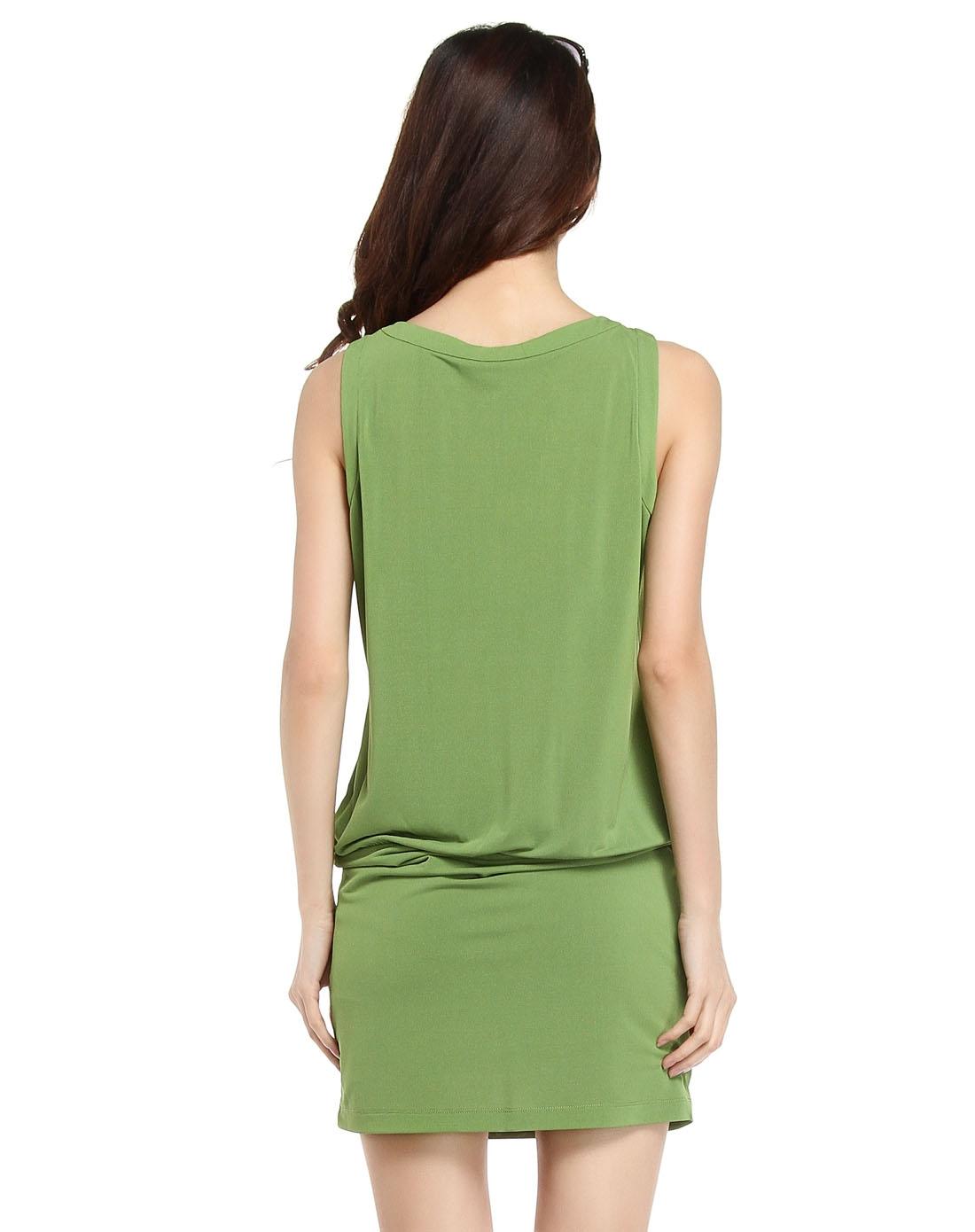 无袖跺(h��ފ9_果绿色简约无袖连衣裙