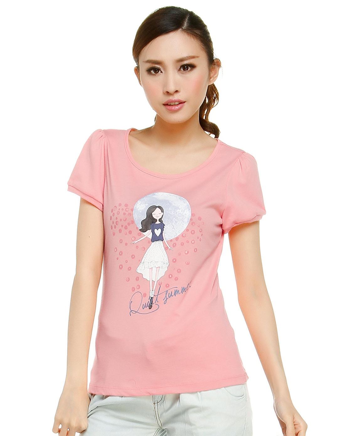 粉红色清新可爱短袖t恤