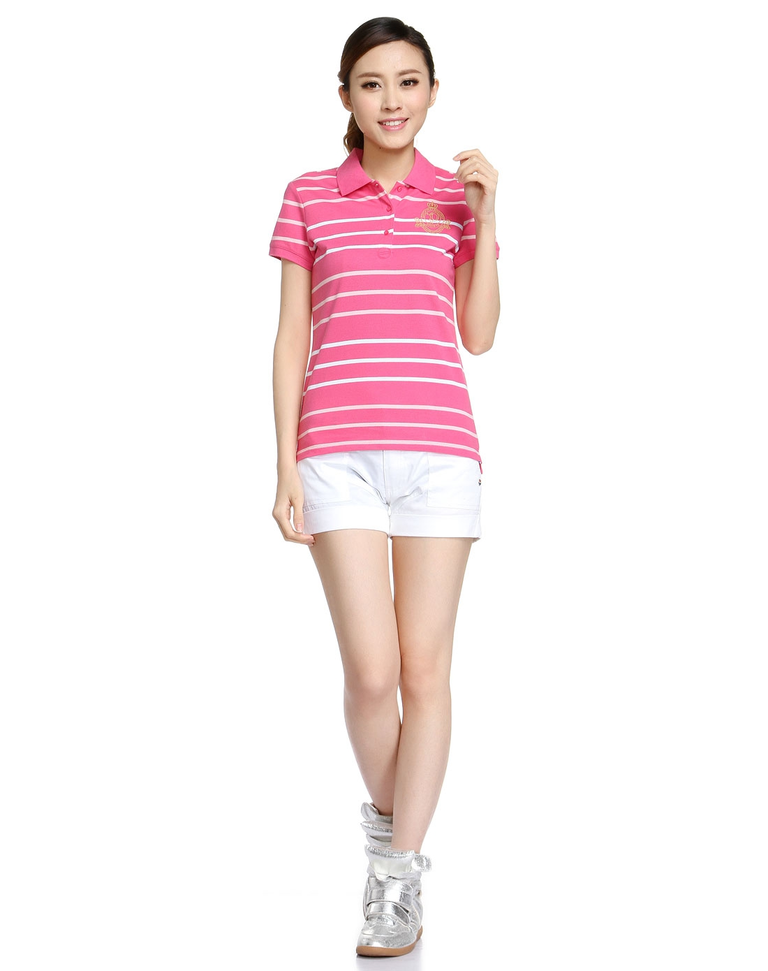 女款简约条纹粉红色短袖polo衫