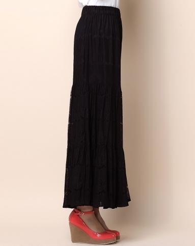 黑色蕾丝长裙图片