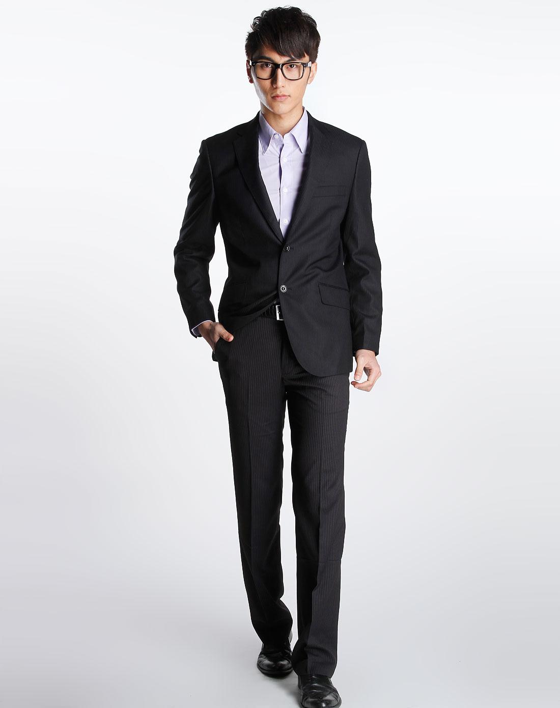 黑/中灰色竖条纹长袖西装