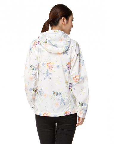 女款清新可爱白底彩色印花长袖外套