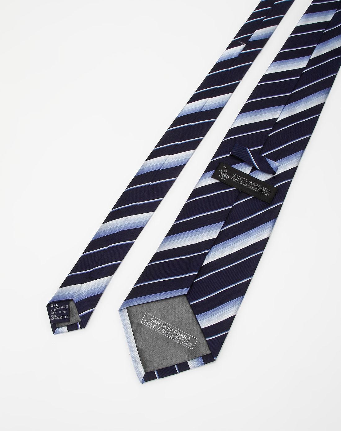 深蓝/浅蓝色斜条纹领带