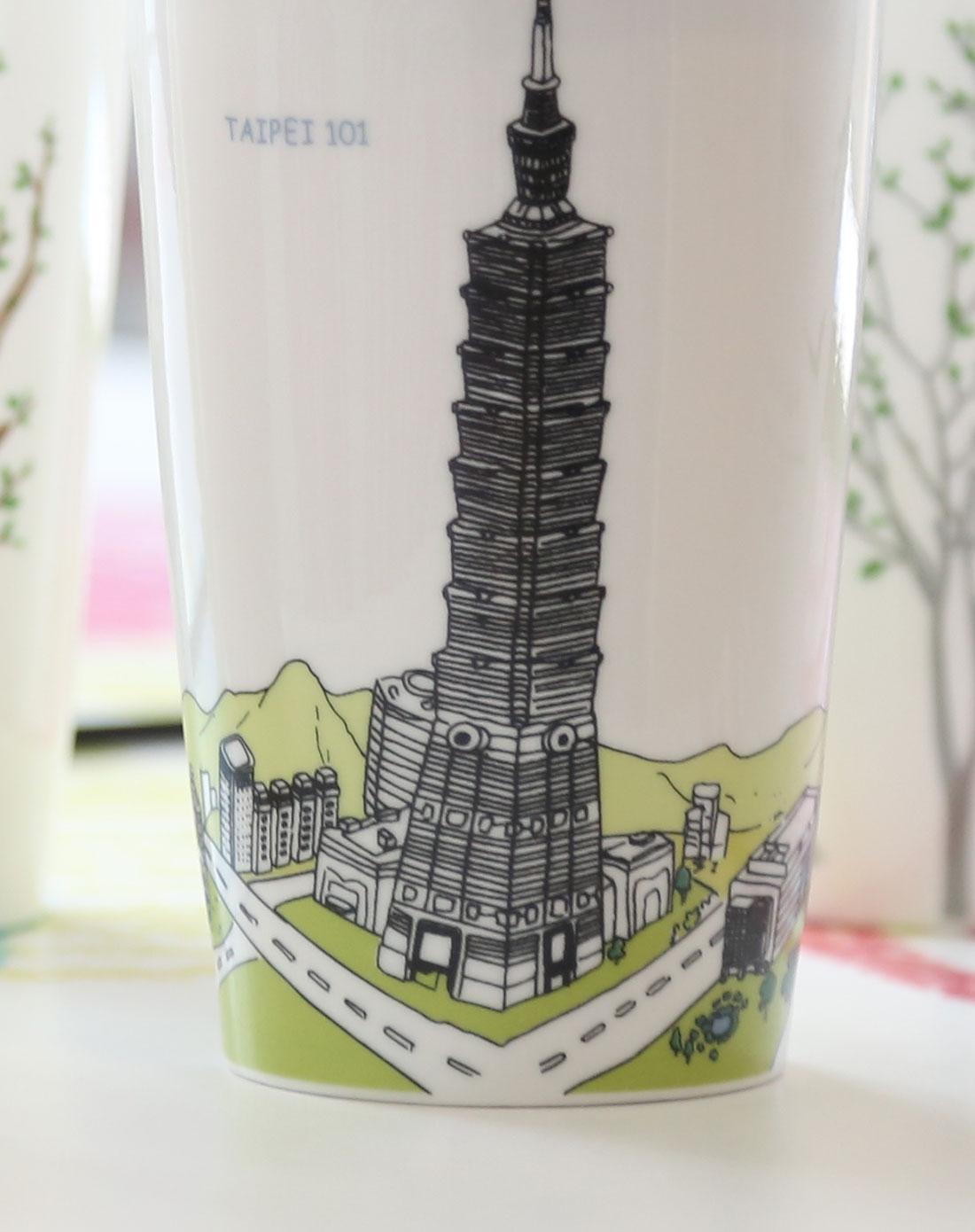 > 风景名胜陶瓷杯组合(长城+台北101)