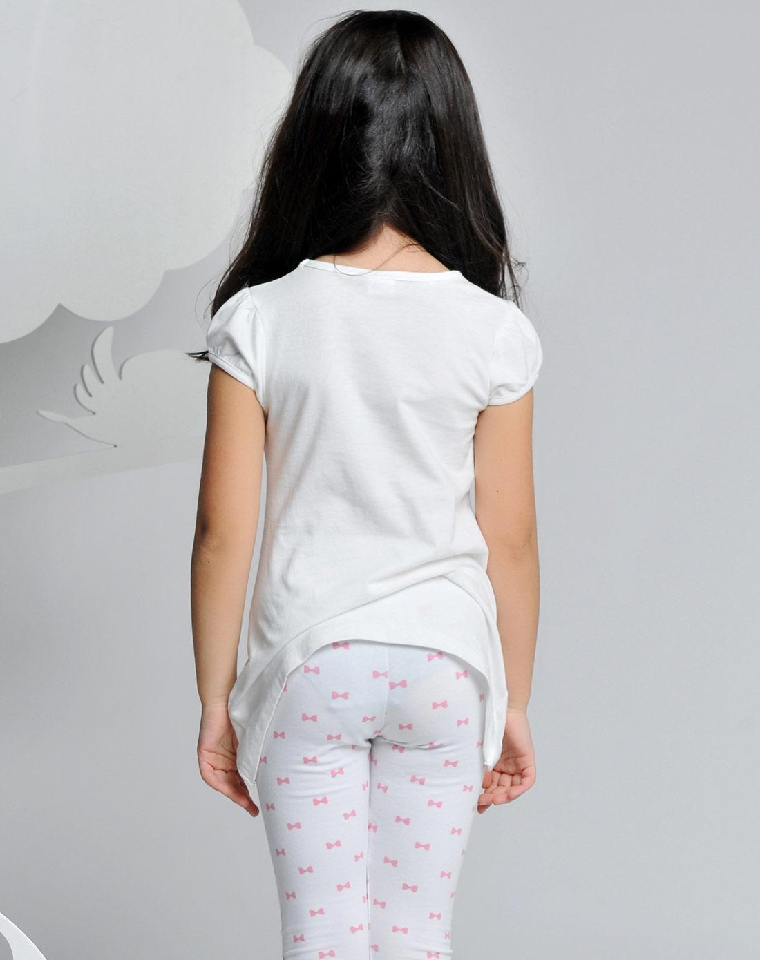 女童米白长款t恤图片