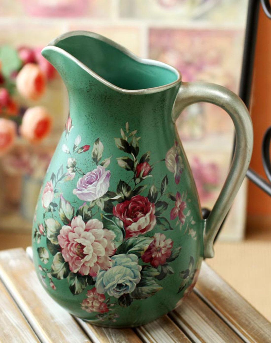 欧式古典绿色田园陶瓷花瓶