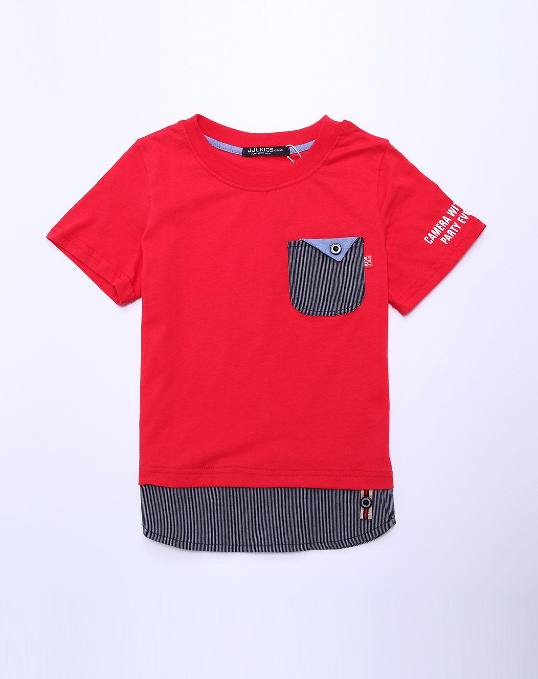 男童大红色t恤