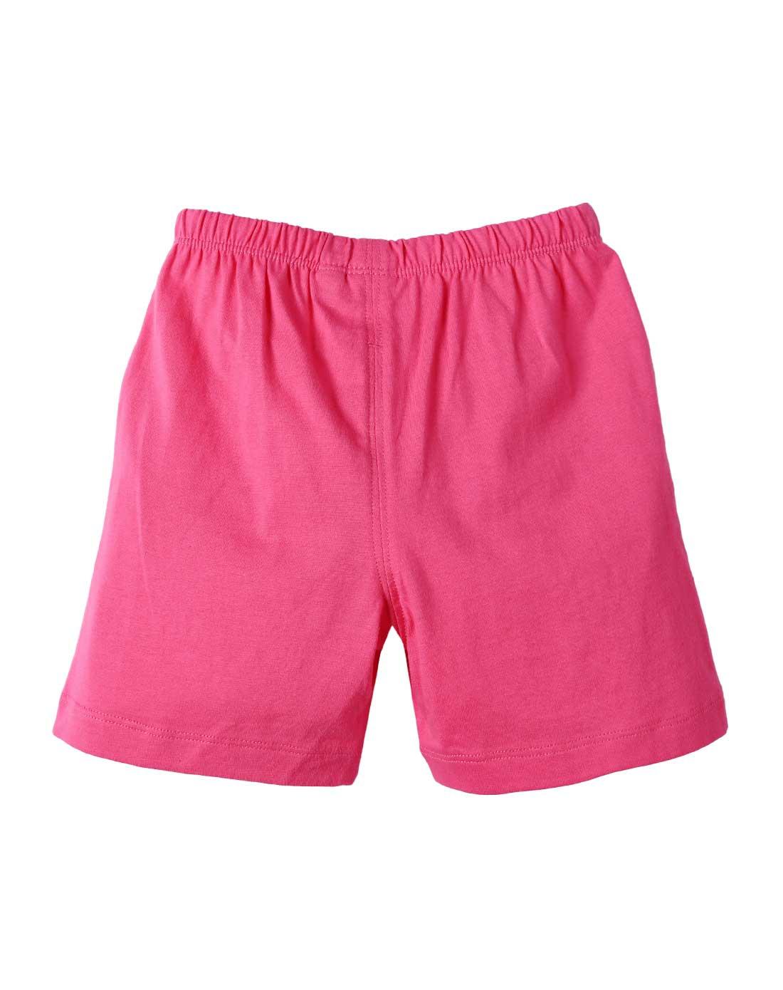 女童梅红色卡通短裤