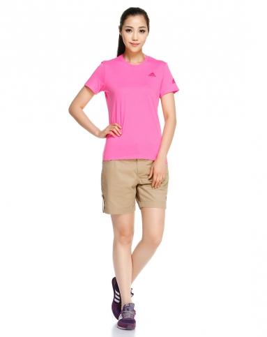 场女款红配粉红色短袖t恤