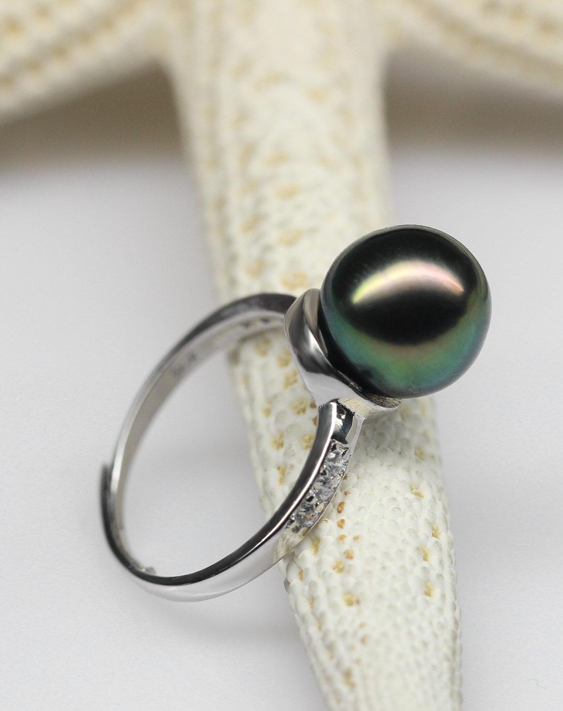 聚宝大溪地黑珍珠戒指