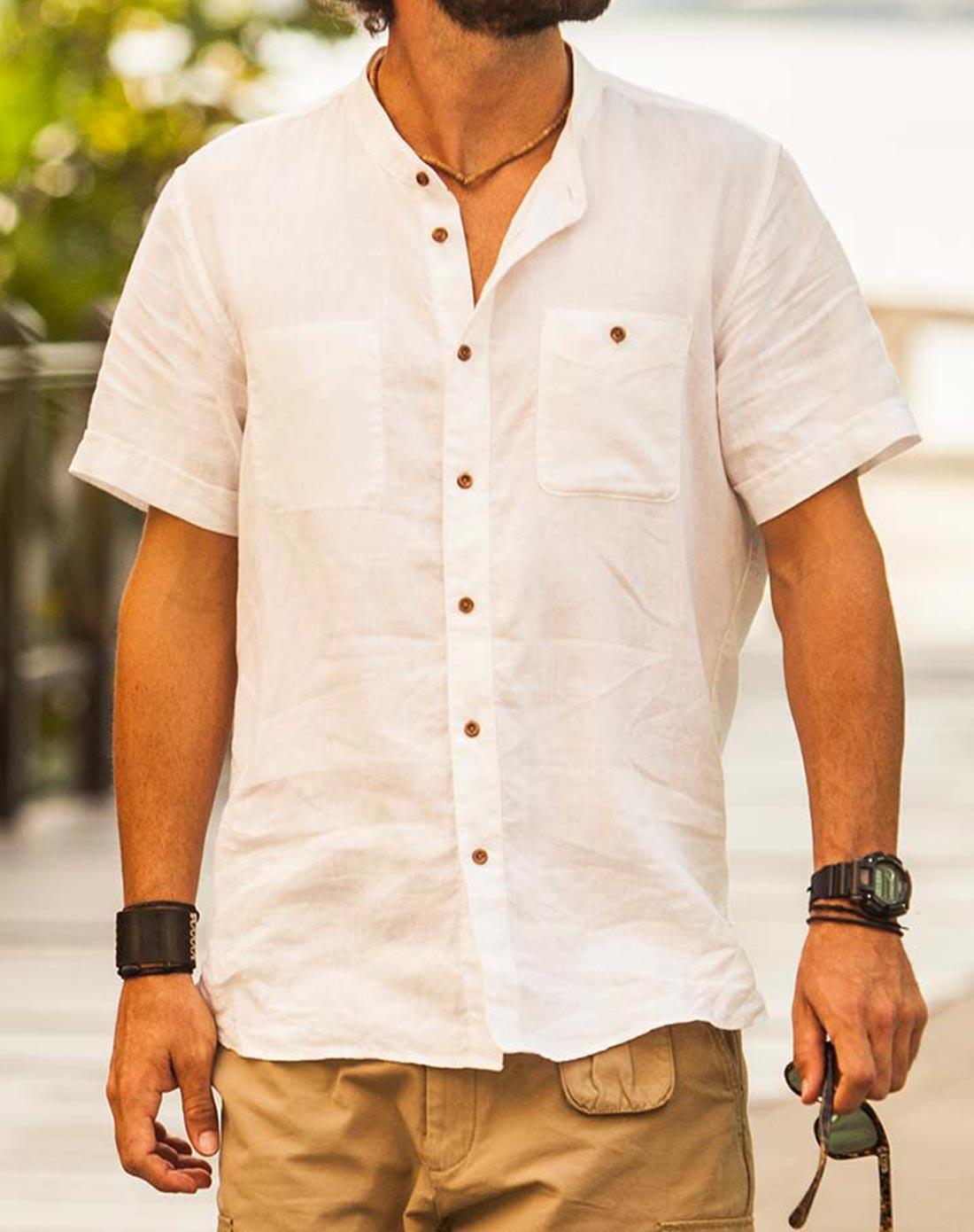 男士米白色全麻小立领衬衫