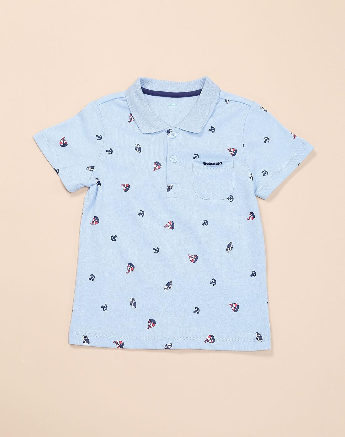 男童可爱印花浅蓝色针织短袖t恤