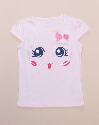 女幼童可爱大眼睛蝴蝶结粉色短袖t恤