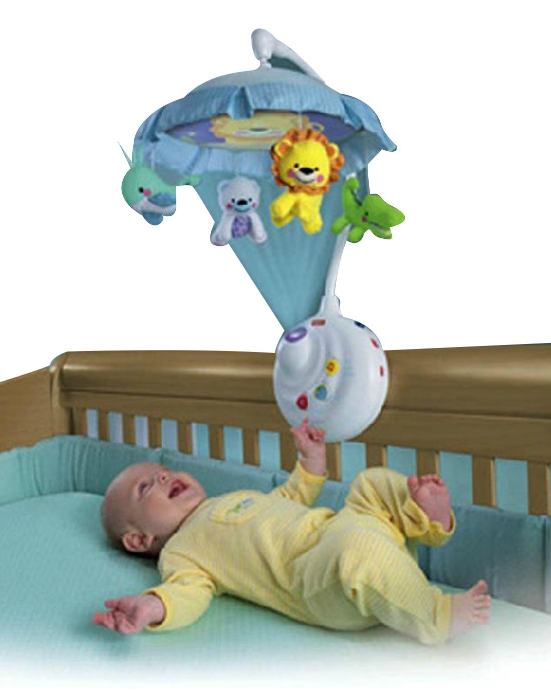 益智玩具费雪 可爱动物两用声光床铃n884922010017