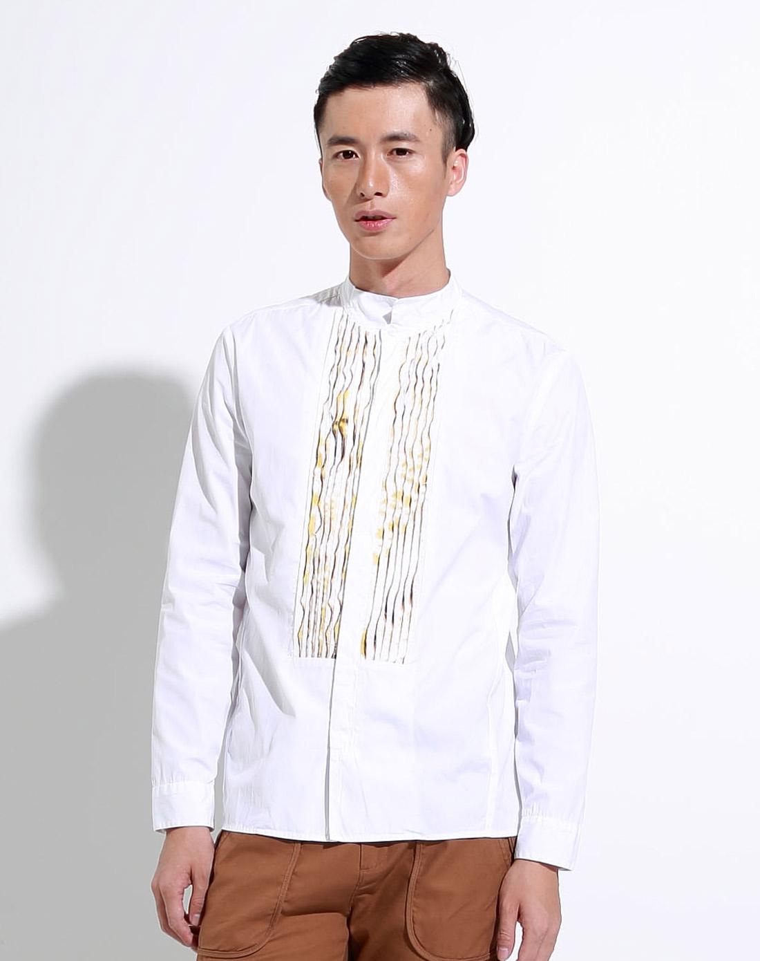 速写croquis白色精致拼接长袖衬衫9261091109_唯品会