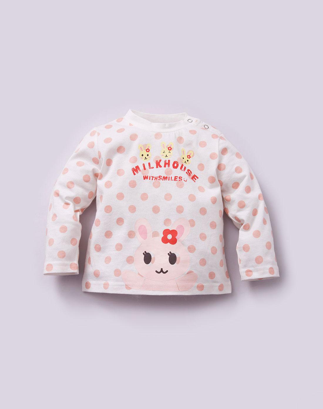 婴童本白色可爱宝贝动物兔兔印花t恤