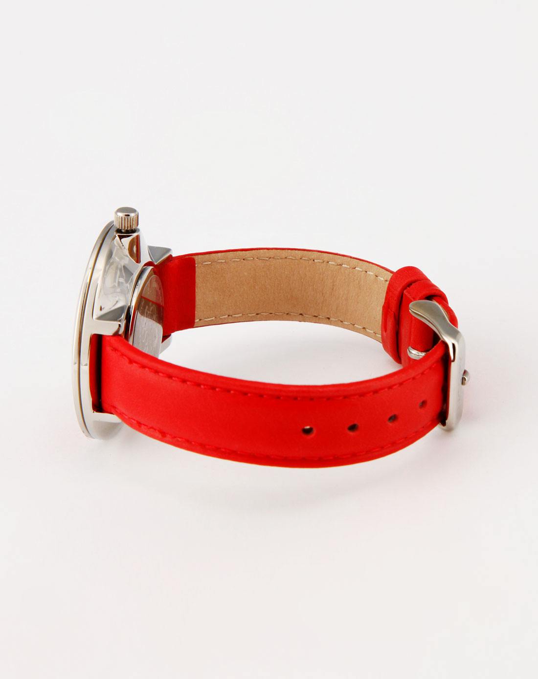 女款红色可爱皮带手表