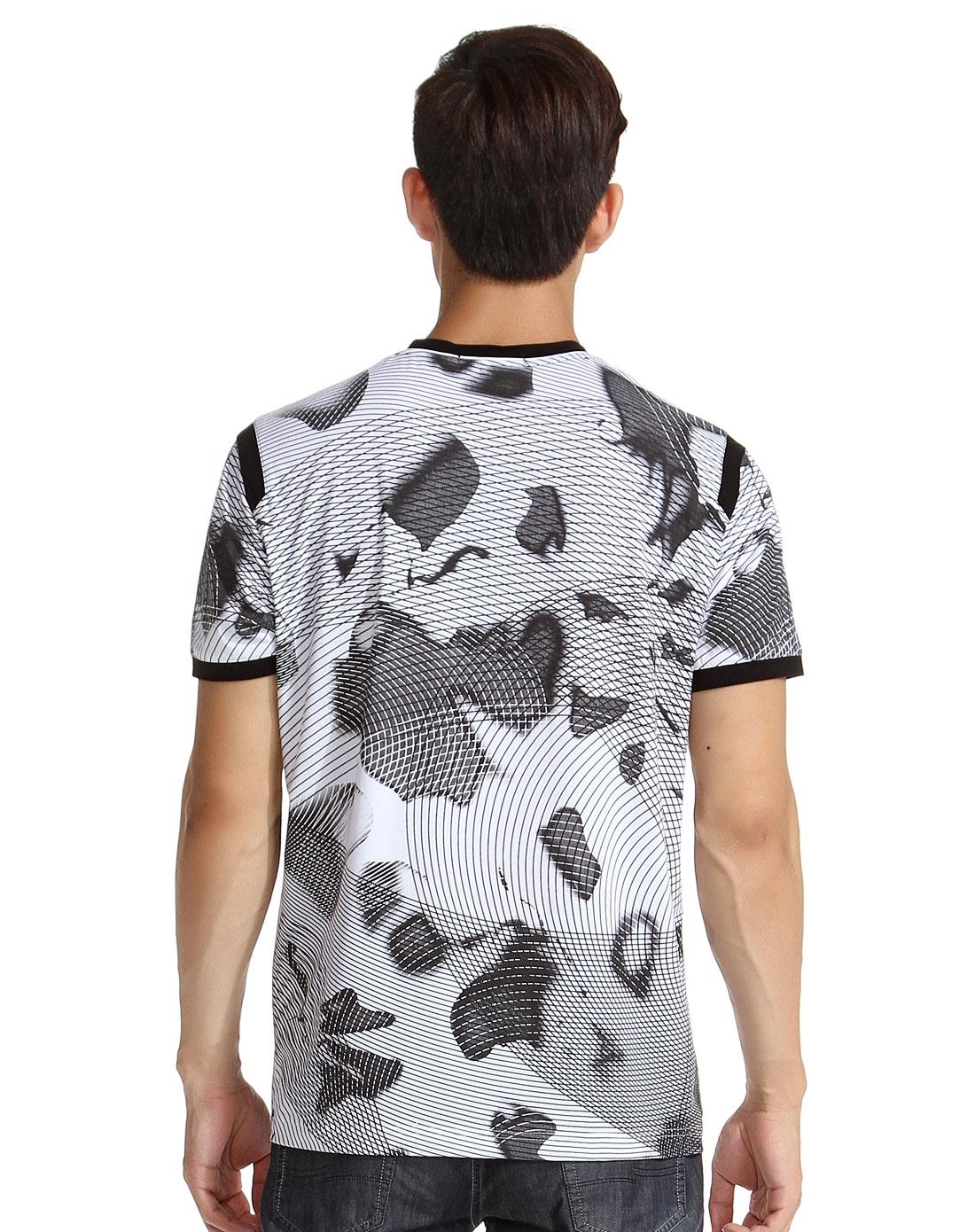 白/黑色v领线条涂鸦短袖t恤图片