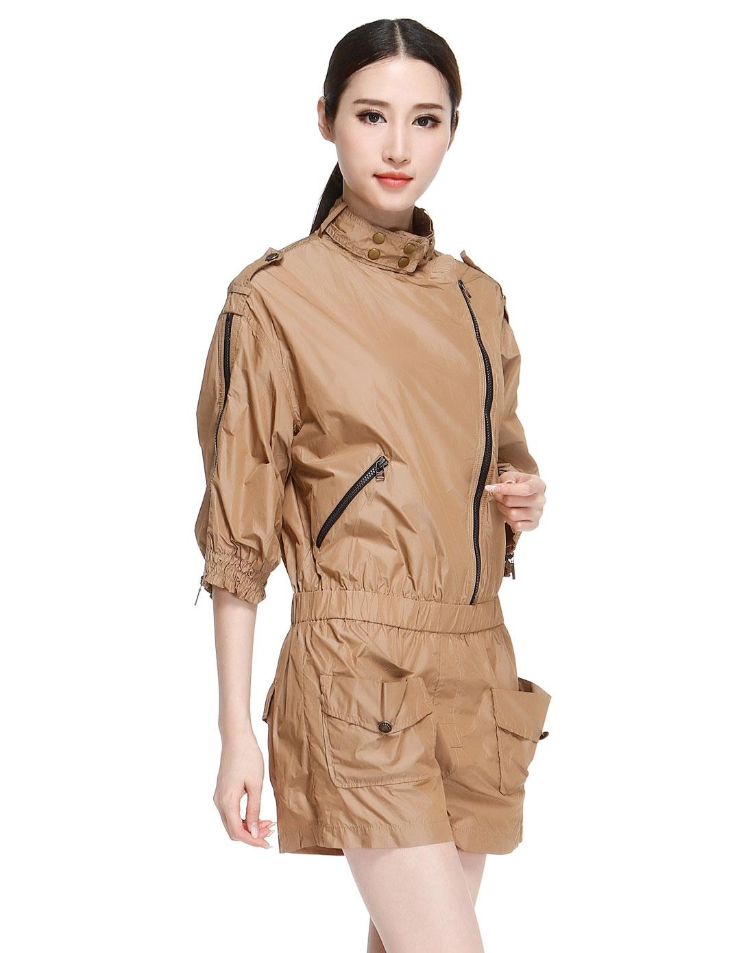 dazzle深卡其色休闲时尚七分袖连体短裤221p70545