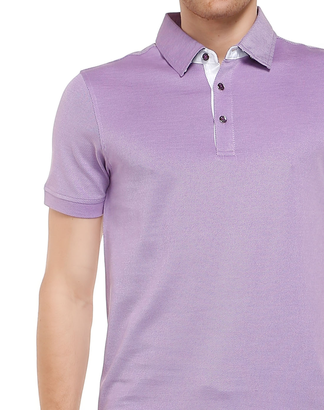 solosali 休闲斜线纹紫色短袖t恤