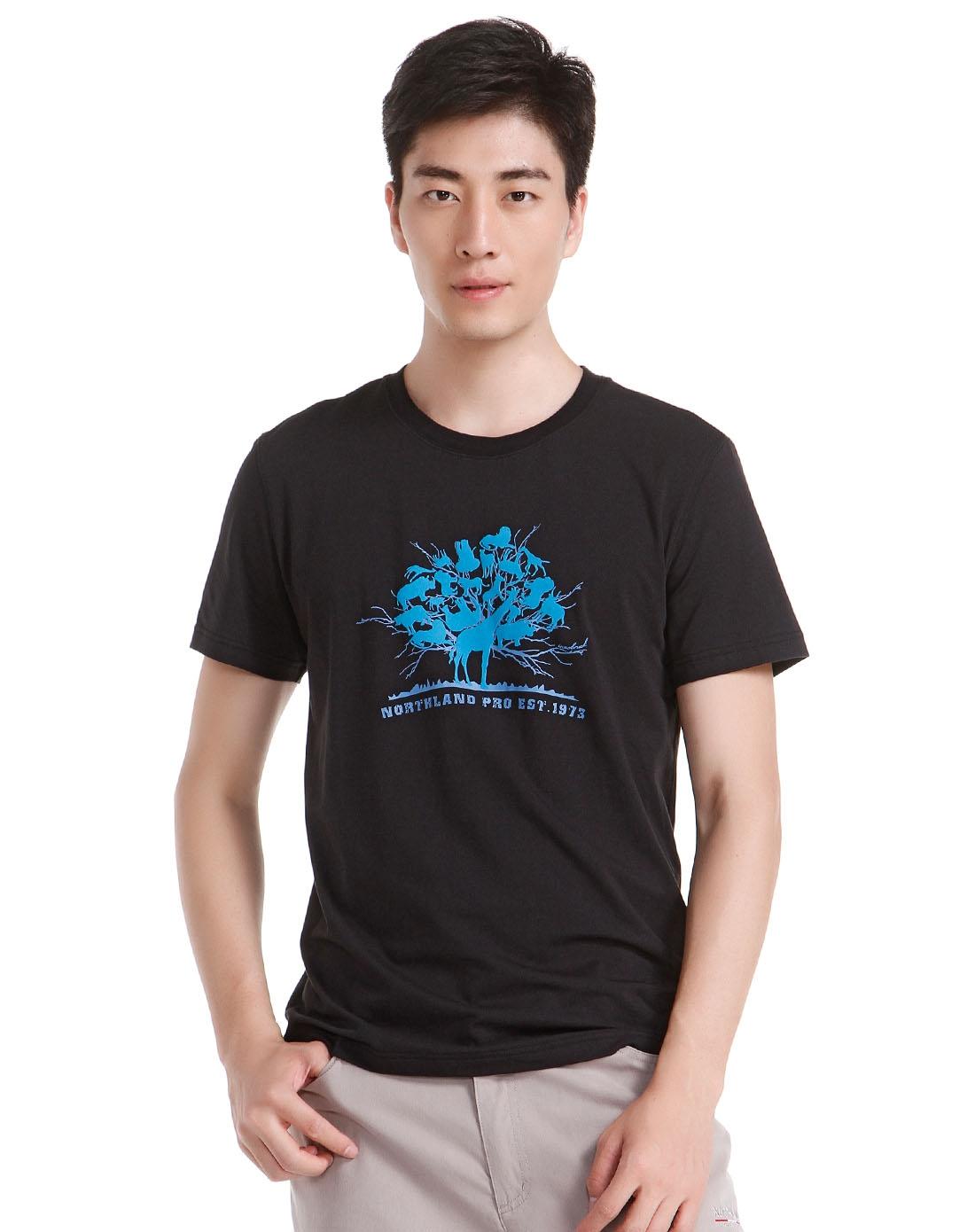 男款动物剪影植绒印图黑色短袖t恤