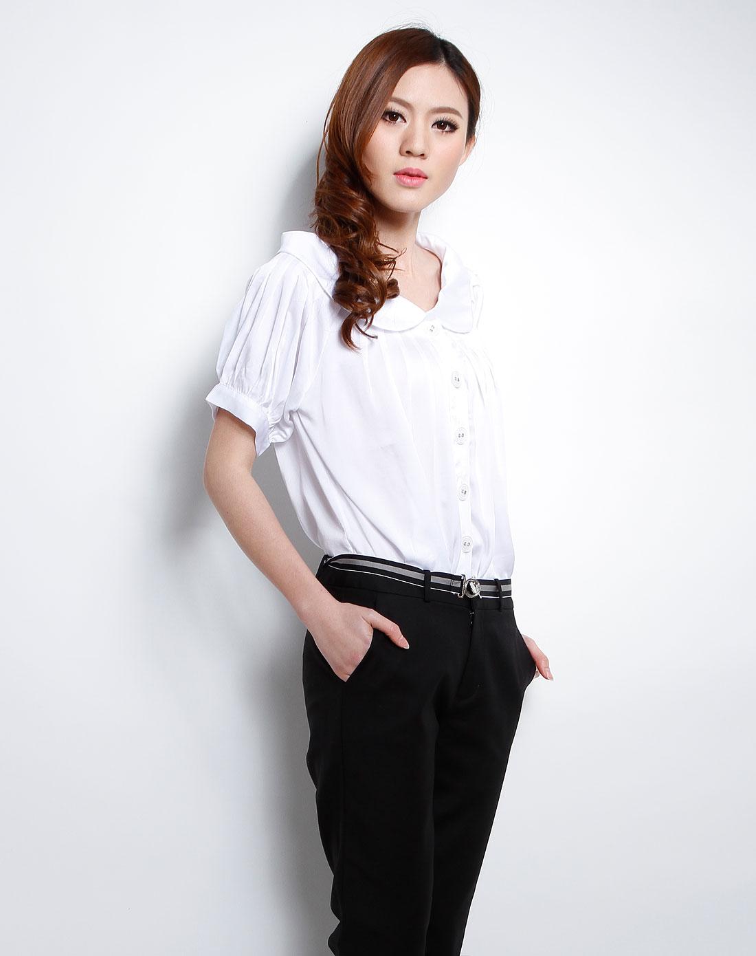 女休闲�z(�:(�ybj�f_女款白色休闲短袖衬衫
