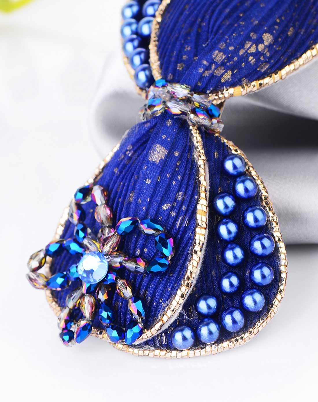 蓝色珍珠串珠布艺蝴蝶结发夹