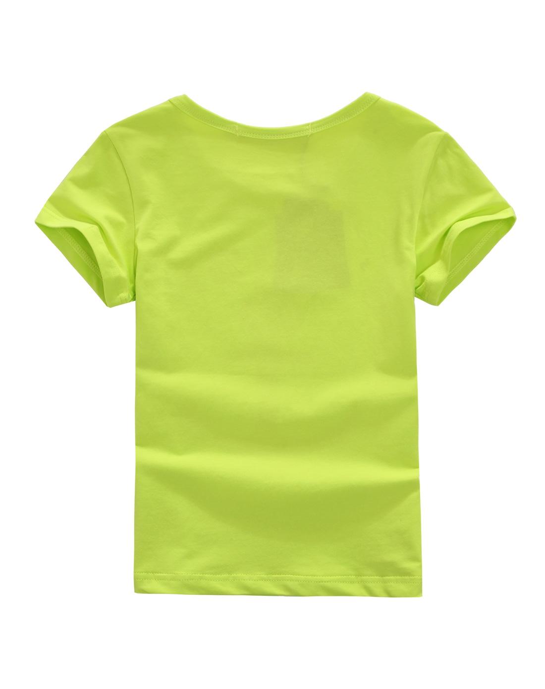 男童荧光绿短袖t恤