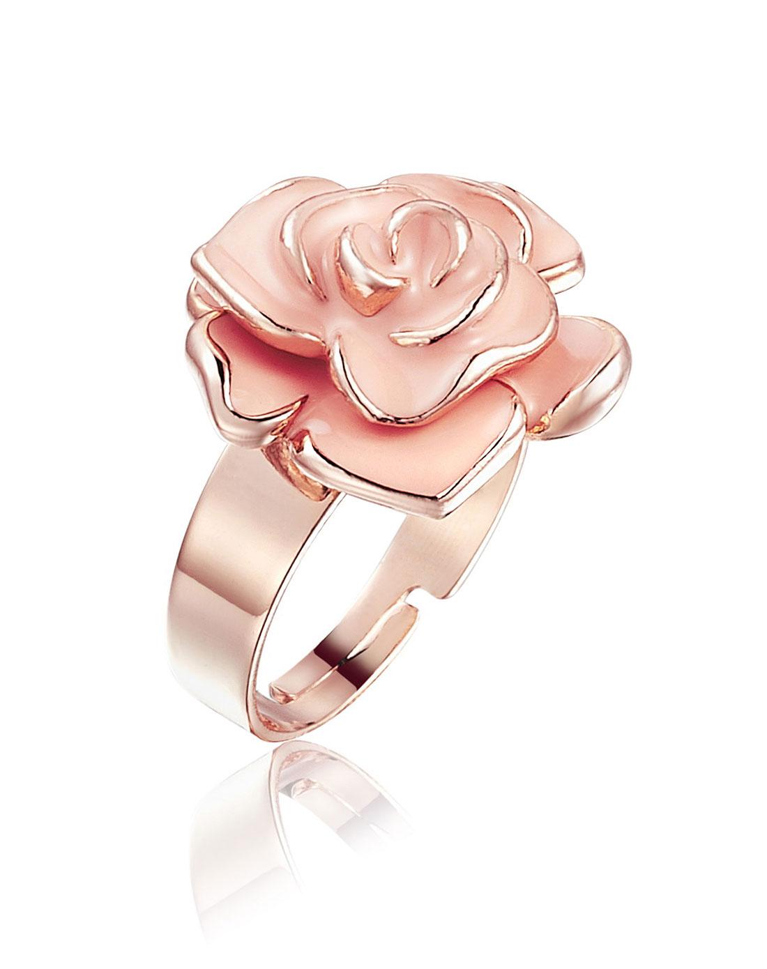 玫瑰金粉色千层玫瑰戒指