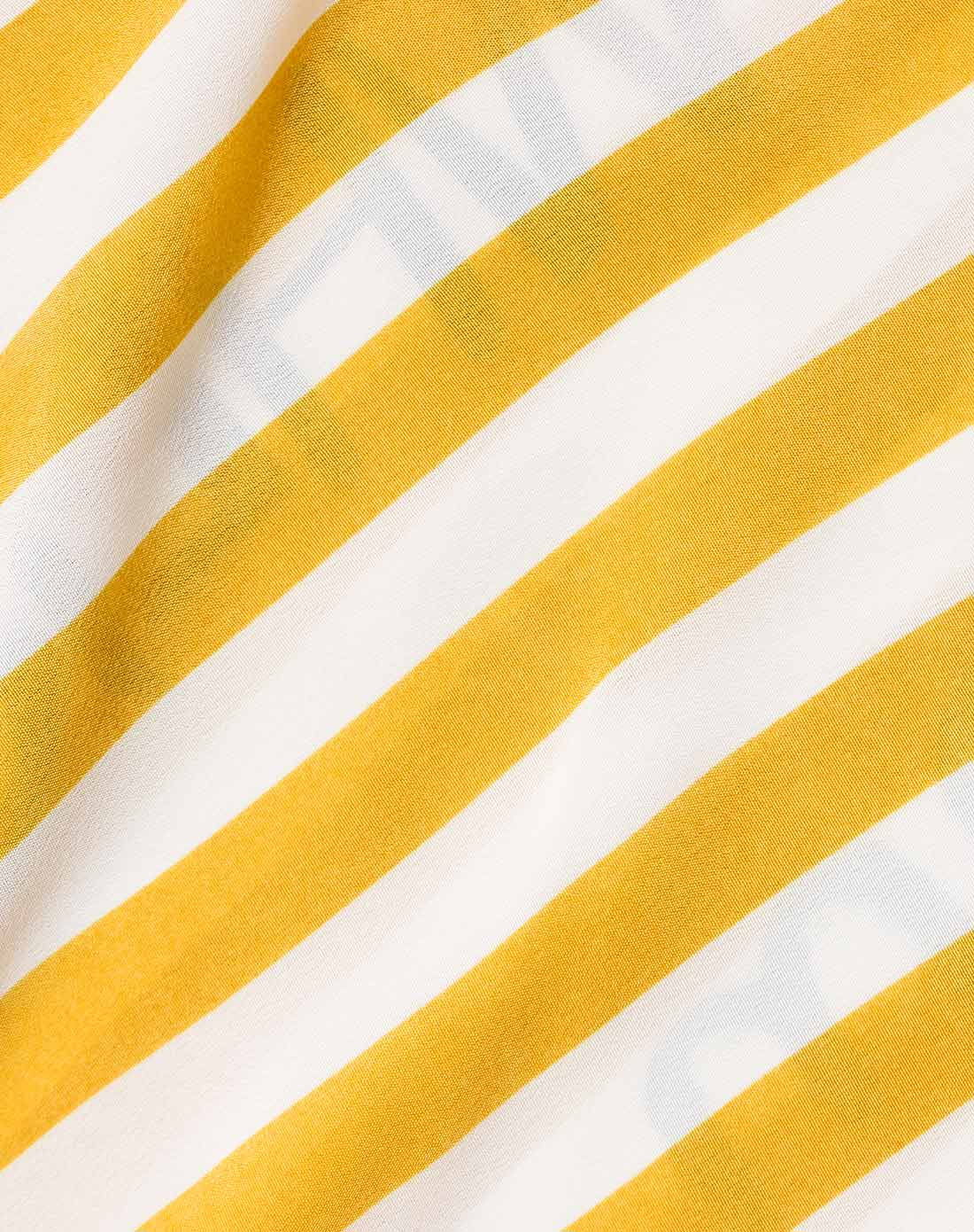 时尚大气黄白条纹短袖雪纺衫