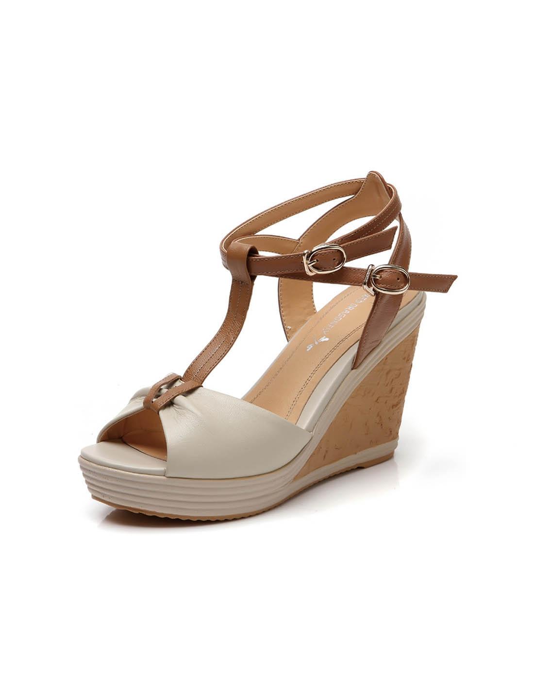 2014夏季新款牛皮米白色女凉鞋