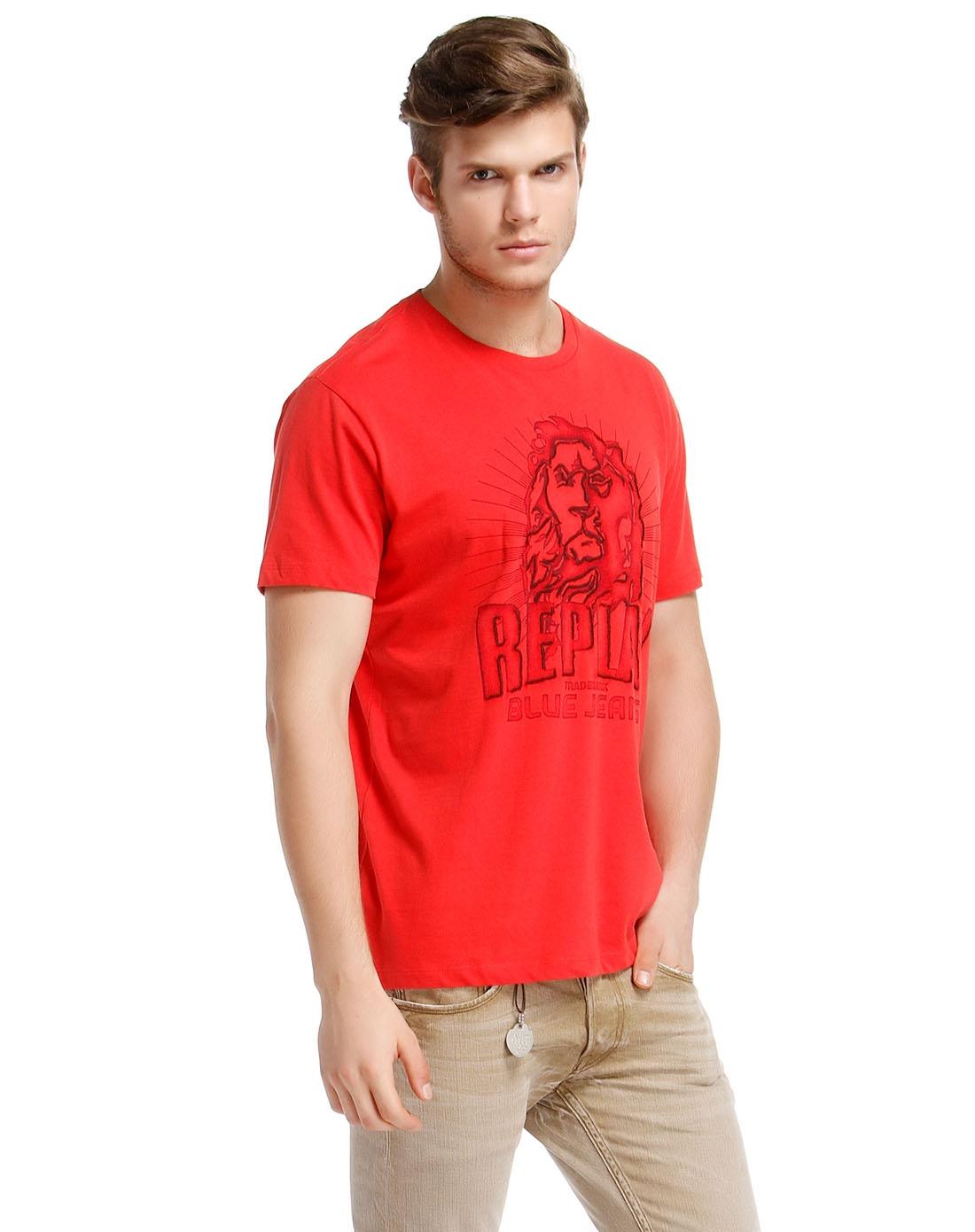 狮子绣图红色短袖t恤