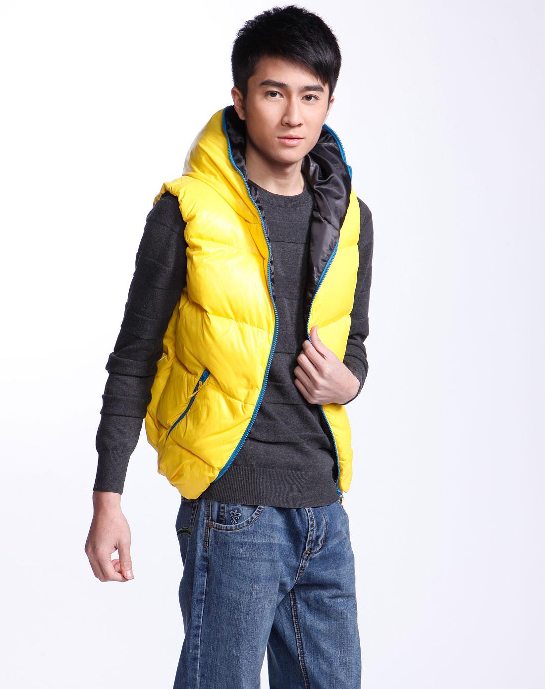 黄色夹棉羽绒连帽背心