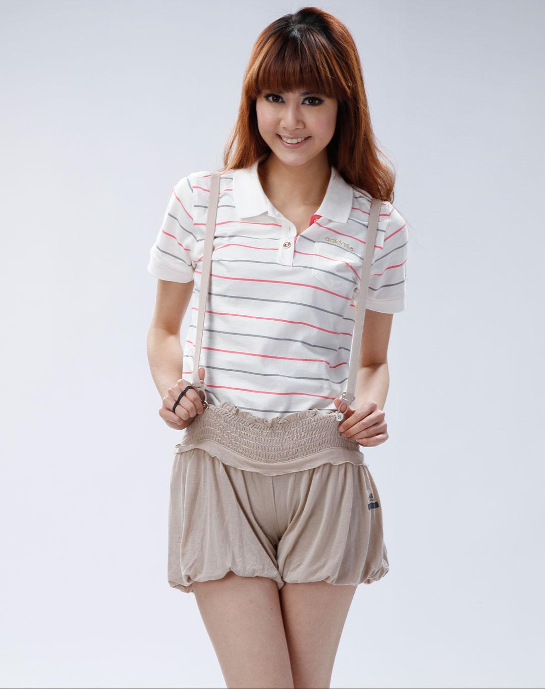阿迪达斯adidas女装专场-女款深杏色健身舞蹈背带短裤