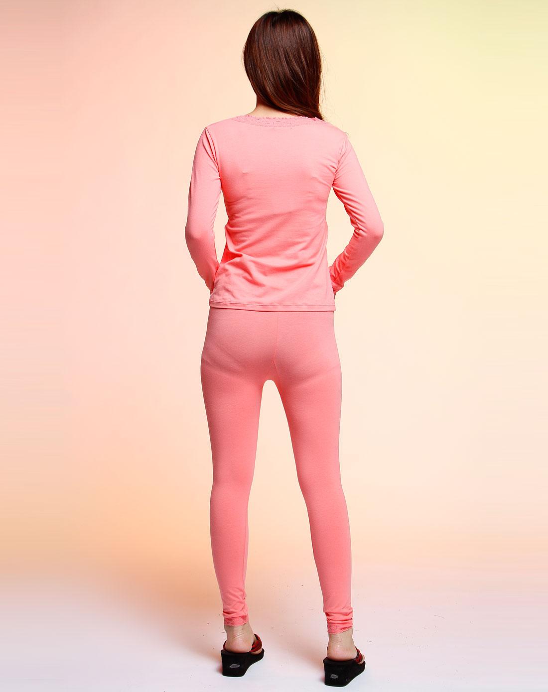 粉红色v领长袖保暖内衣套装