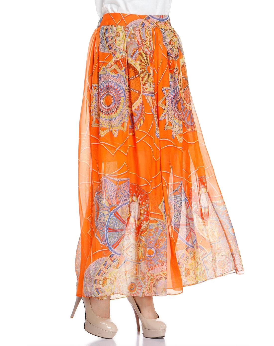 恩裳 橙/多色花纹俏丽长裙