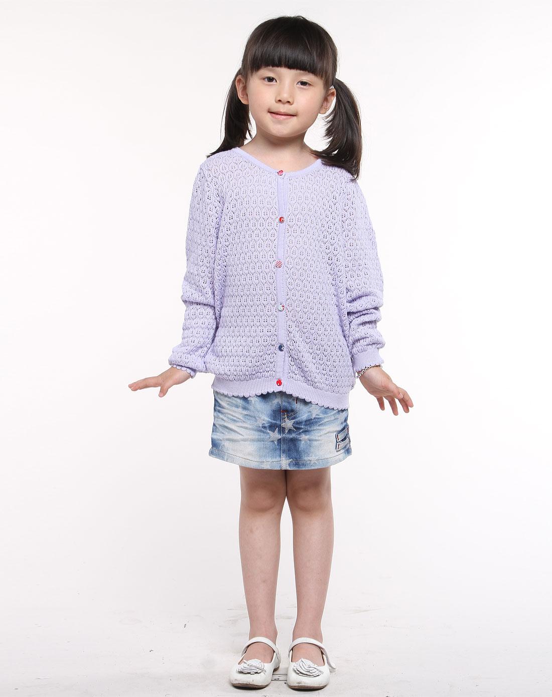 女童紫色针织休闲服装