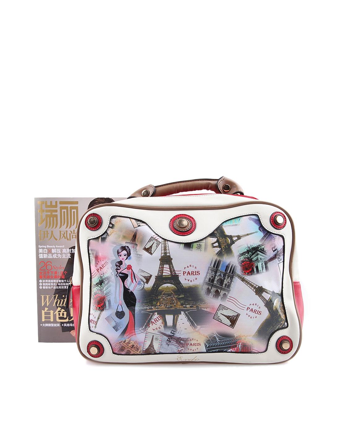 女士红白色艺术彩绘图案双排拉链两用大包