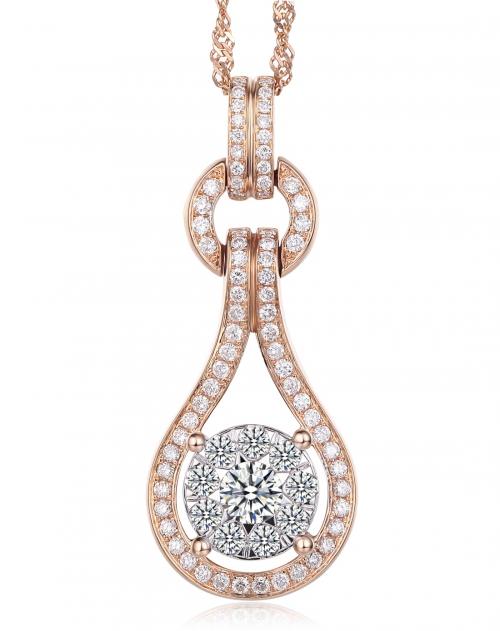 18k玫瑰金超豪华欧美时尚大牌设计群镶钻石吊坠(送18k玫瑰金项链)