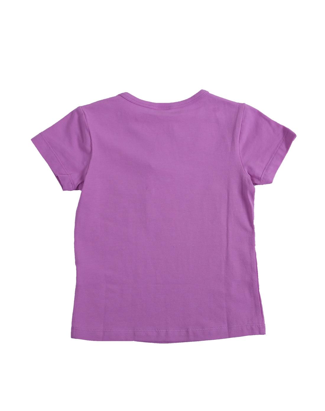 女童浅紫色卡通短袖t恤
