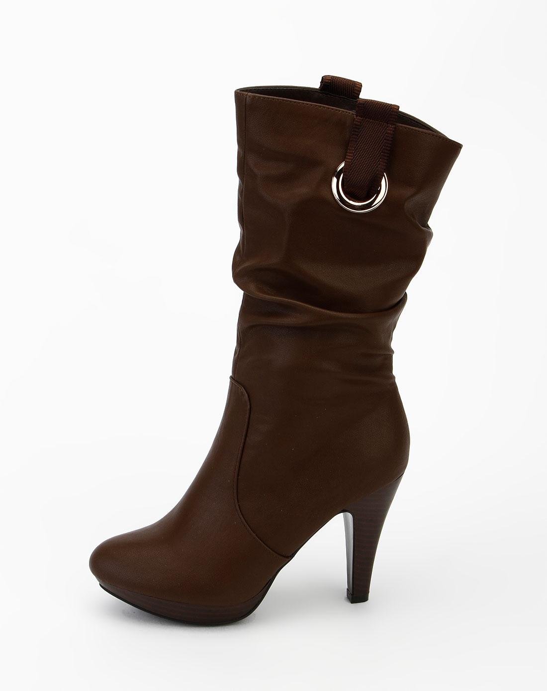 印心鸟卡其色时尚褶皱高跟短靴m208-111