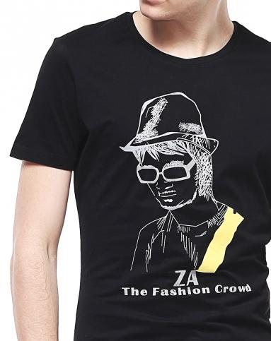 黑色人物印图圆领短袖t恤