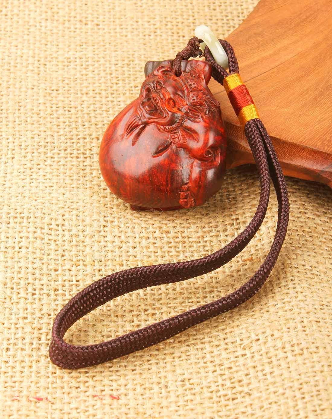 悦木之源貔貅招财-天然小叶紫檀福袋手把件stym25q012