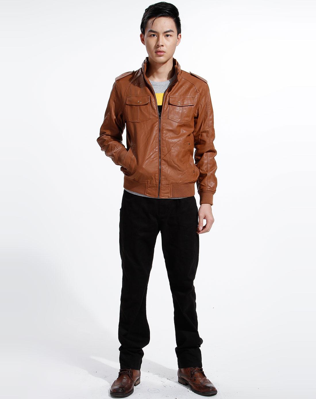 唐狮tonlion-深卡其色立领时尚长袖皮衣