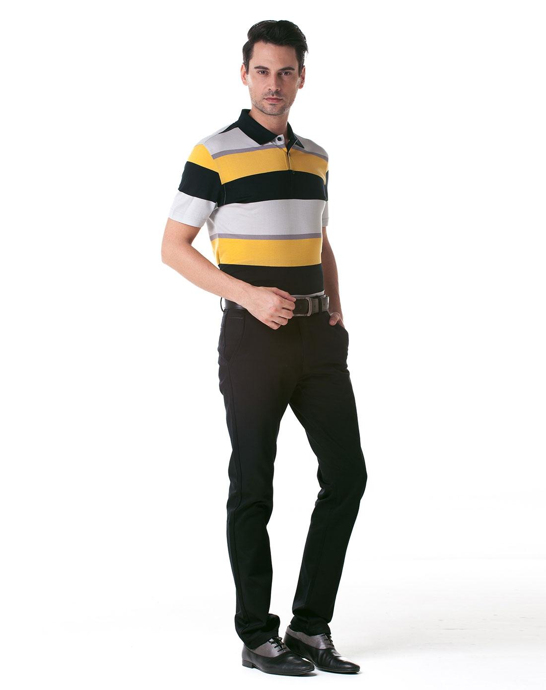 黑黄灰色宽横条纹男装短袖t恤